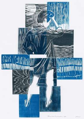 Blue Girl Construction, ink, $$290.0000