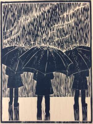 Under The Weather, woodcut, 6 x 8 inches, $$80.0000