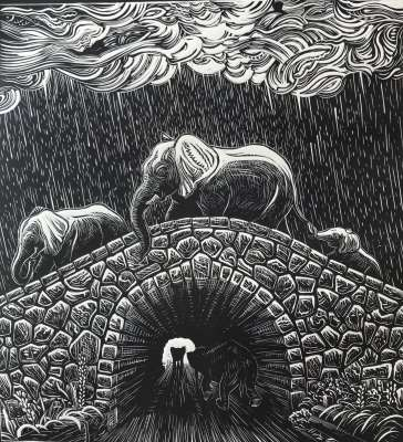 Elephant Dream, ink on paper, 11 x 12 inches, $$180.0000